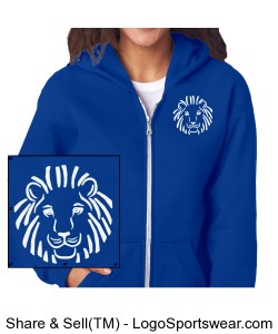 Ladies Front/Back Design Full Zip Hoodie Screen Printed Design Zoom